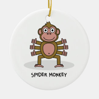 Spider Monkey Round Ceramic Decoration