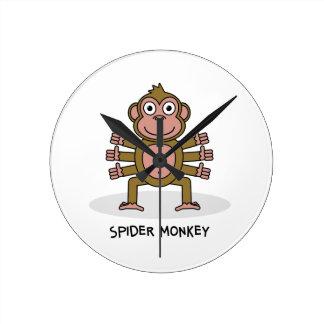 Spider Monkey Round Clock