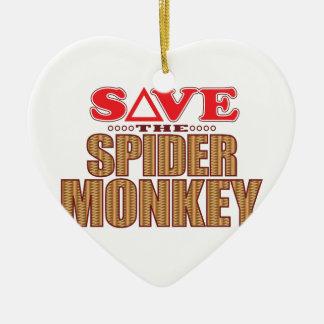 Spider Monkey Save Ceramic Heart Decoration