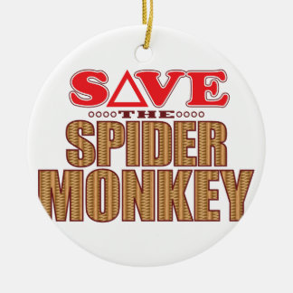 Spider Monkey Save Christmas Ornament