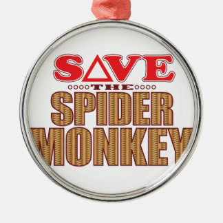 Spider Monkey Save Silver-Colored Round Decoration