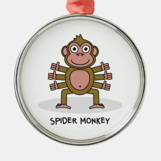 Spider Monkey Silver-Colored Round Decoration