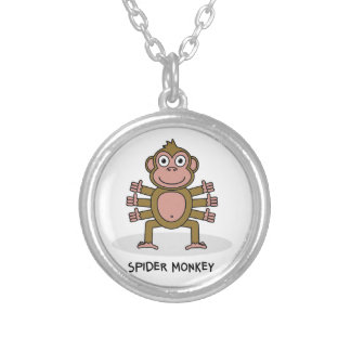 Spider Monkey Silver Plated Necklace
