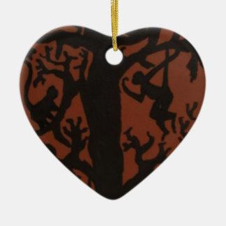 spider monkey tree ceramic heart decoration