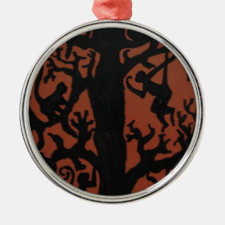 Spider monkey tree Silver-Colored round decoration