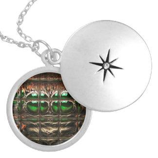 Spider mosaic locket necklace