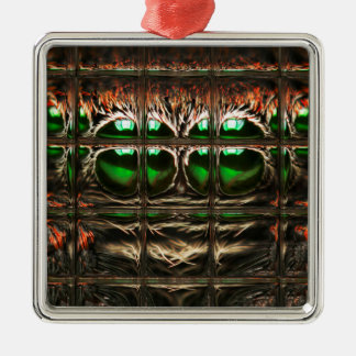 Spider mosaic Silver-Colored square decoration