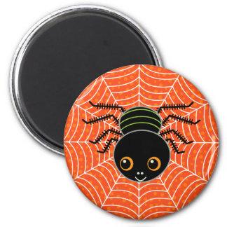 Spider on Web 6 Cm Round Magnet
