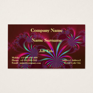 Spider Plant Fractal on Burgundy Business Card