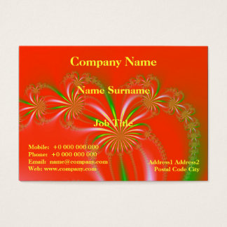 Spider Plant Fractal on Orange Red Business Card