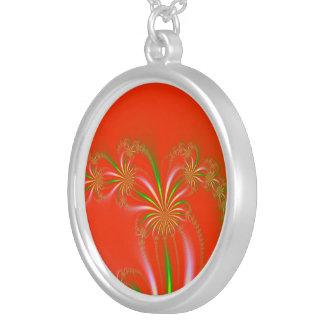 Spider Plant Fractal on Orange Red Necklace