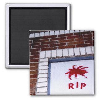 spider r.i.p. stencil square magnet