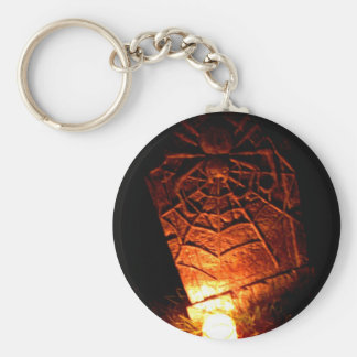 Spider Tombstone Basic Round Button Key Ring
