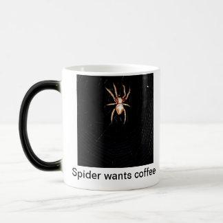 Spider wants coffee magic mug