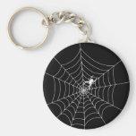 Spider Web Basic Round Button Key Ring