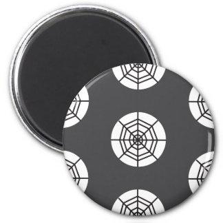 Spider web on grey background Halloween 6 Cm Round Magnet
