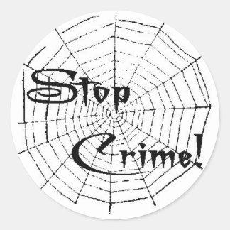 Spider web round sticker