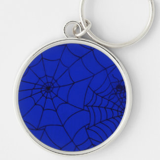 Spider Web, Spider Net, Cobweb - Blue Black Key Ring