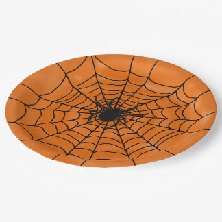 Spider Web with spider on Orange Halloween 9 Inch Paper Plate