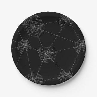 Spider Webs Black Paper Plate