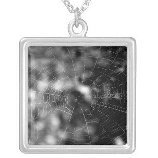 Spider webs make compelling shapes. silver plated necklace