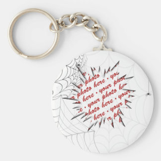 Spider Webs Photo Frame Template Basic Round Button Key Ring