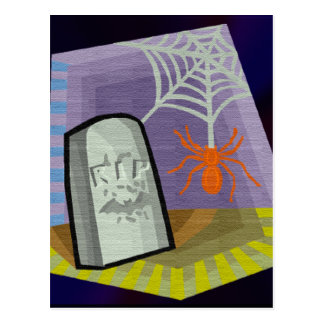 Spider with Web & RIP Marker Postcard