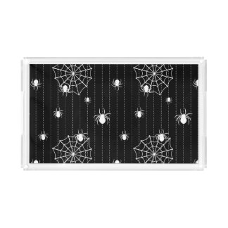 Spiders and web background acrylic tray