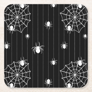 Spiders and web background square paper coaster