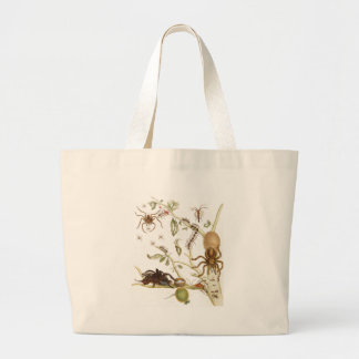 Spiders, ants and hummingbird on a branch of ... large tote bag