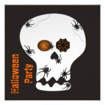 Spiders Crawling on Skull Halloween Party Invitation