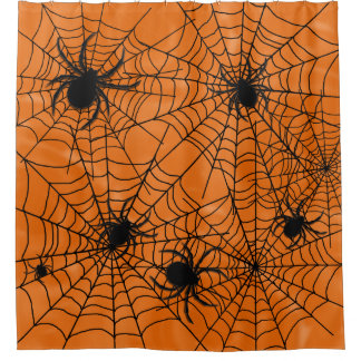 Spiders Web Halloween Shower Curtain