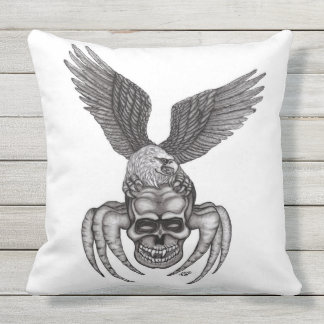 Spiderskull with Eagle Outdoor Cushion