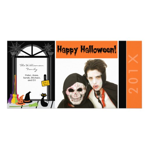 Spiderweb Door Family Halloween Photocard Photo Card
