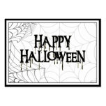 Spiderwebs And Happy Halloween Creepy Text Pack Of Chubby Business Cards