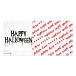 Spiderwebs And Happy Halloween Creepy Text Personalized Photo Card