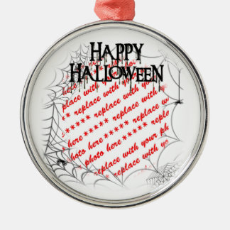 Spiderwebs in the Corner Halloween Photo Frame Silver-Colored Round Decoration