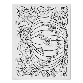 Spidery Pumpkin Cardstock Adult Coloring Page Poster