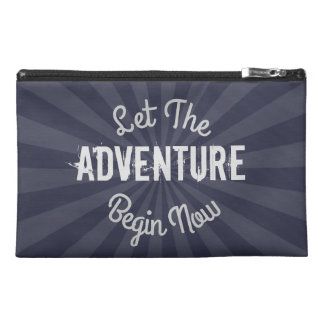 Spiffy Blue Let The Adventure Begin Now Starburst Travel Accessories Bag