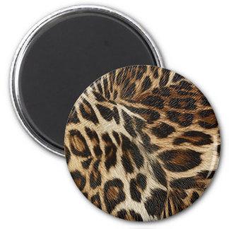 Spiffy Leopard Spots Leather Grain Look 6 Cm Round Magnet
