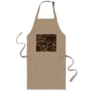 Spiffy Leopard Spots Leather Grain Look Long Apron