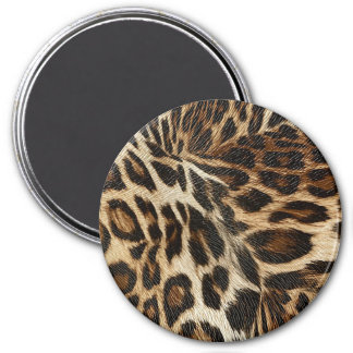 Spiffy Leopard Spots Leather Grain Look 3 Inch Round Magnet