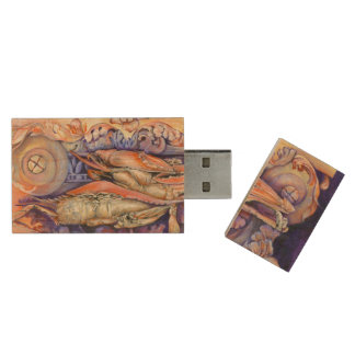 Spike and Curly Playing Tag Wood USB 2.0 Flash Drive