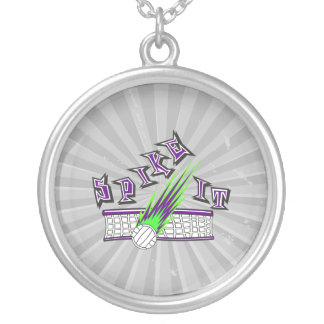 spike it vector volleyball graphic design round pendant necklace