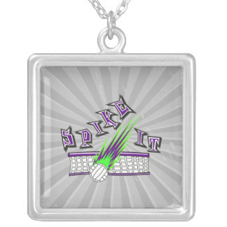 spike it vector volleyball graphic design square pendant necklace