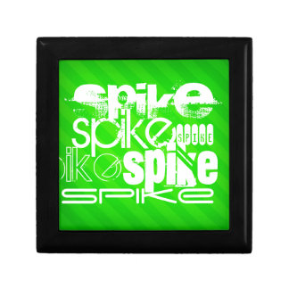 Spike; Neon Green Stripes Small Square Gift Box