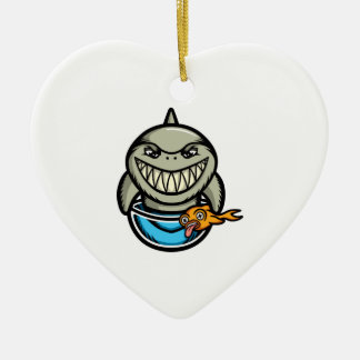 Spike the Shark Ceramic Heart Decoration