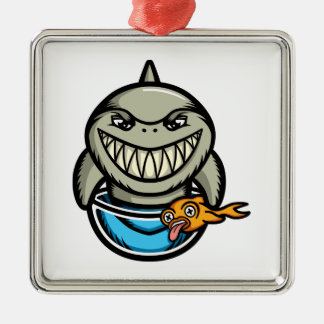 Spike the Shark Silver-Colored Square Decoration
