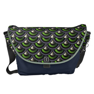 Spiked Dragon Skin Peacock Mermaid Scales Print Courier Bag