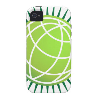 Spiked Green Globe Icon iPhone 4 Cases
